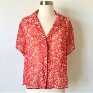 Victoria's Secret Red Floral Sheer Button Blouse